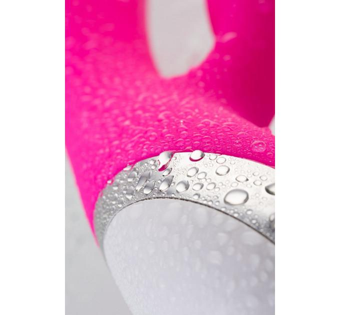 Розовый силиконовый вибратор с клиторальным стимулятором LIA - 19 см.