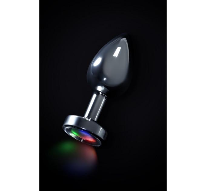 Серебристая анальная втулка со светодиодами - 8,8 см.
