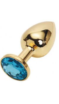 Золотистая металлическая анальная пробка с голубым стразом - 8,2 см.