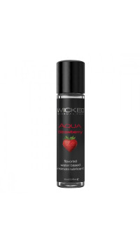 Лубрикант с ароматом клубники  WICKED AQUA Strawberry - 30 мл.